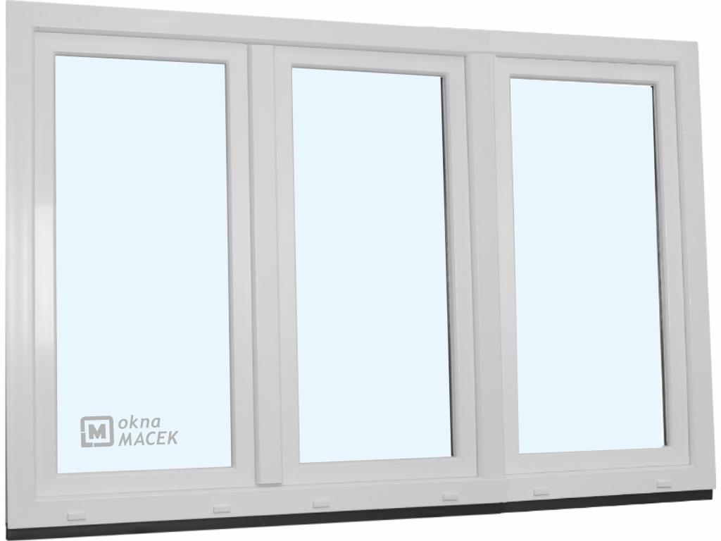 Plastové okno - KNIPPING 70 AD, 2400x1500 mm, OS+O/OS, bílá/bílá