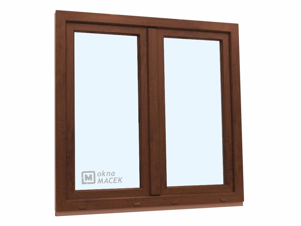 Plastové okno - KNIPPING 70 AD, 1200x1200 mm, O+OS klapačka, ořech/bílá