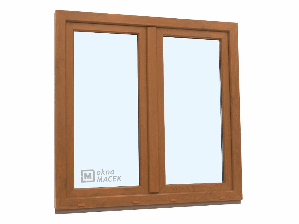 Plastové okno - KNIPPING 70 AD, 1200x1200 mm, O+OS klapačka, zlatý dub/bílá