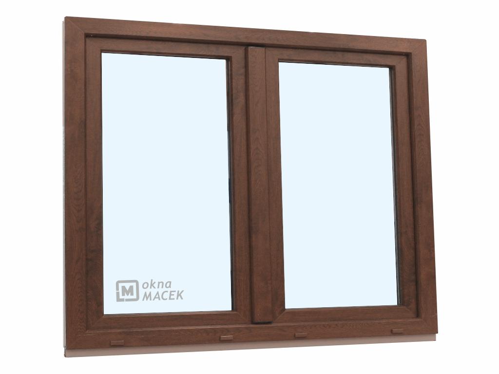 Plastové okno - KNIPPING 70 AD, 1500x1200 mm, O+OS klapačka, ořech/bílá