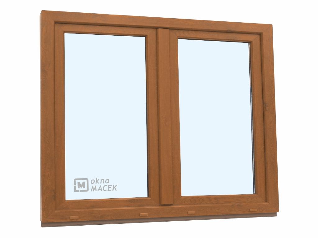 Plastové okno - KNIPPING 70 AD, 1500x1200 mm, O+OS klapačka, zlatý dub/bílá
