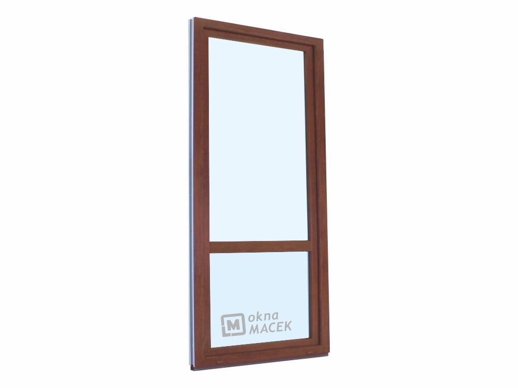 Plastové balkonové dveře - KNIPPING 70 AD, 800x2200 mm, OS, s příčkou, ořech/bílá Otevírání: pravé