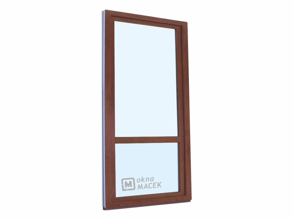Plastové balkonové dveře - KNIPPING 70 AD, 900x2200 mm, OS, s příčkou, ořech/bílá Otevírání: levé
