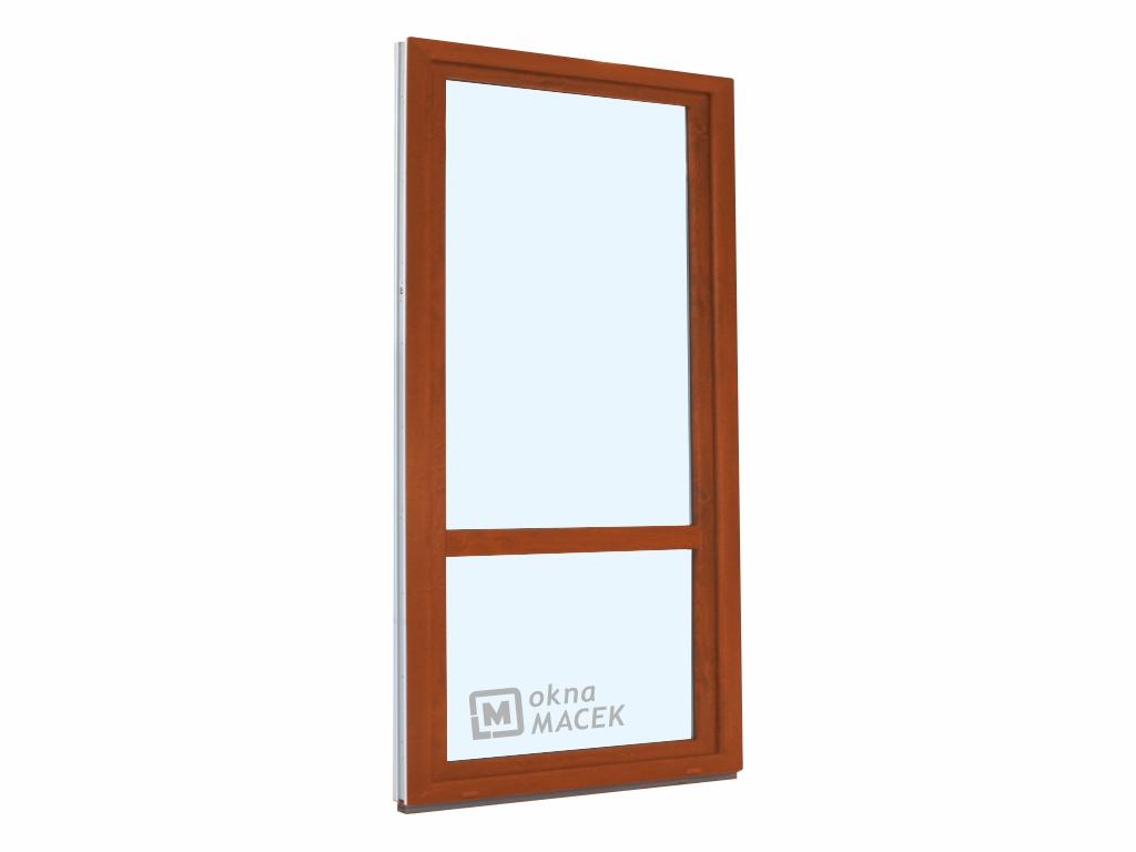 Plastové balkonové dveře - KNIPPING 70 AD, 900x2200 mm, OS, s příčkou, zlatý dub/bílá Otevírání: levé