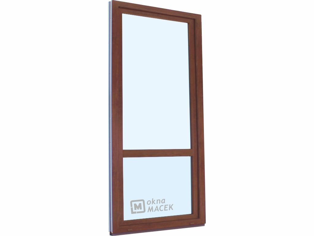 Plastové balkonové dveře - KNIPPING 70 AD, 900x2400 mm, OS, s příčkou, ořech/bílá Otevírání: levé