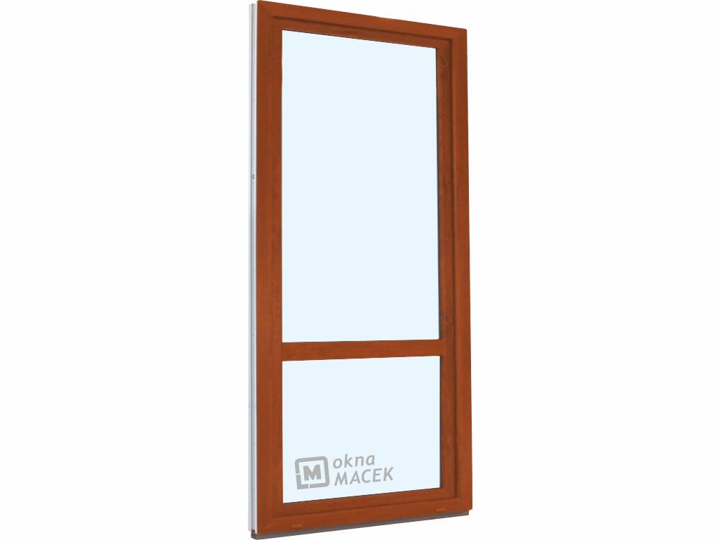 Plastové balkonové dveře - KNIPPING 70 AD, 900x2400 mm, OS, s příčkou, zlatý dub/bílá Otevírání: levé