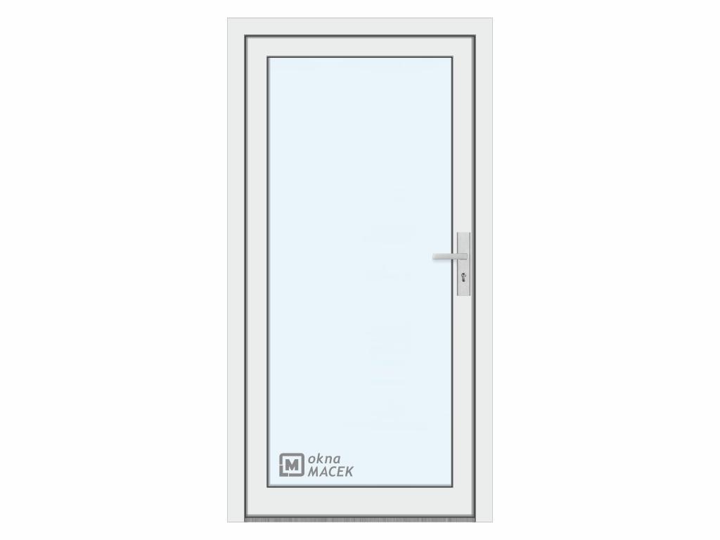 Plastové vchodové dveře - KNIPPING 76 AD, prosklené, bílá/bílá Otevírání: levé, Šířka průchodu: 800 mm, Sklo: čiré