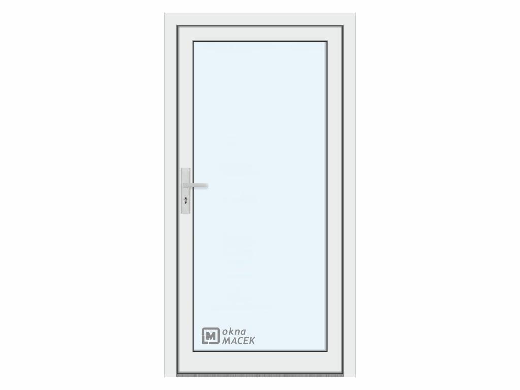 Plastové vchodové dveře - KNIPPING 76 AD, prosklené, bílá/bílá Otevírání: pravé, Šířka průchodu: 800 mm, Sklo: čiré