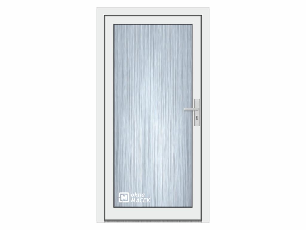 Plastové vchodové dveře - KNIPPING 76 AD, prosklené, bílá/bílá Otevírání: levé, Šířka průchodu: 800 mm, Sklo: ornamentální (kůra čirá)