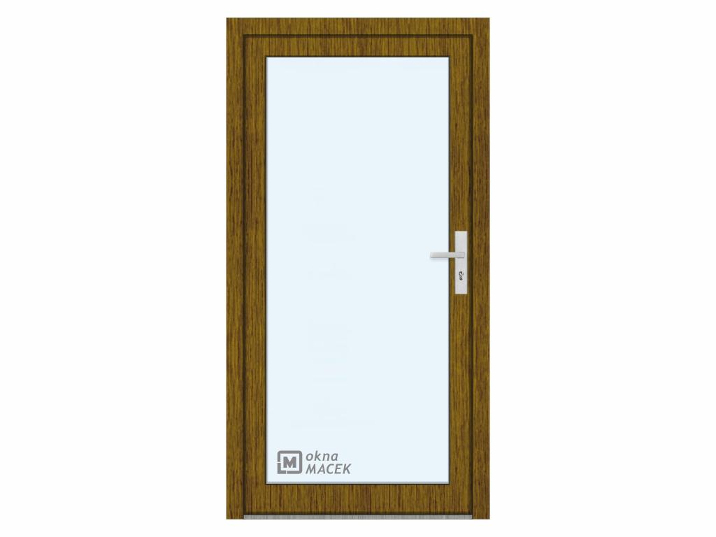 Plastové vchodové dveře - KNIPPING 76 AD, prosklené, ořech/bílá Otevírání: levé, Šířka průchodu: 800 mm, Sklo: čiré