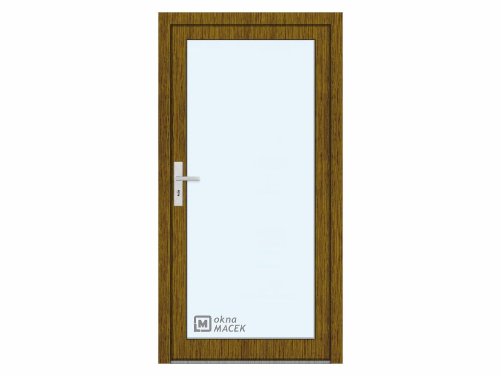 Plastové vchodové dveře - KNIPPING 76 AD, prosklené, ořech/bílá Otevírání: pravé, Šířka průchodu: 800 mm, Sklo: čiré