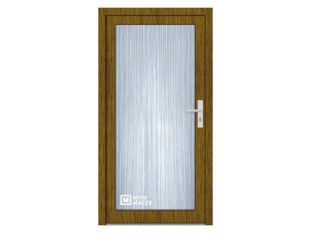 Plastové vchodové dveře - KNIPPING 76 AD, prosklené, ořech/bílá Otevírání: levé, Šířka průchodu: 800