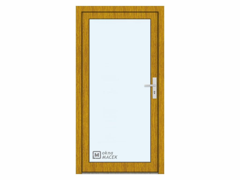 Plastové vchodové dveře - KNIPPING 76 AD, prosklené, zlatý dub/bílá Otevírání: levé, Šířka průchodu: 800 mm, Sklo: čiré