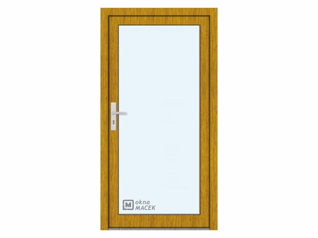 Plastové vchodové dveře - KNIPPING 76 AD, prosklené, zlatý dub/bílá Otevírání: pravé, Šířka průchodu: 800 mm, Sklo: čiré