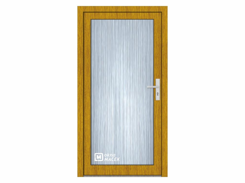 Plastové vchodové dveře - KNIPPING 76 AD, prosklené, zlatý dub/bílá Otevírání: levé, Šířka průchodu: