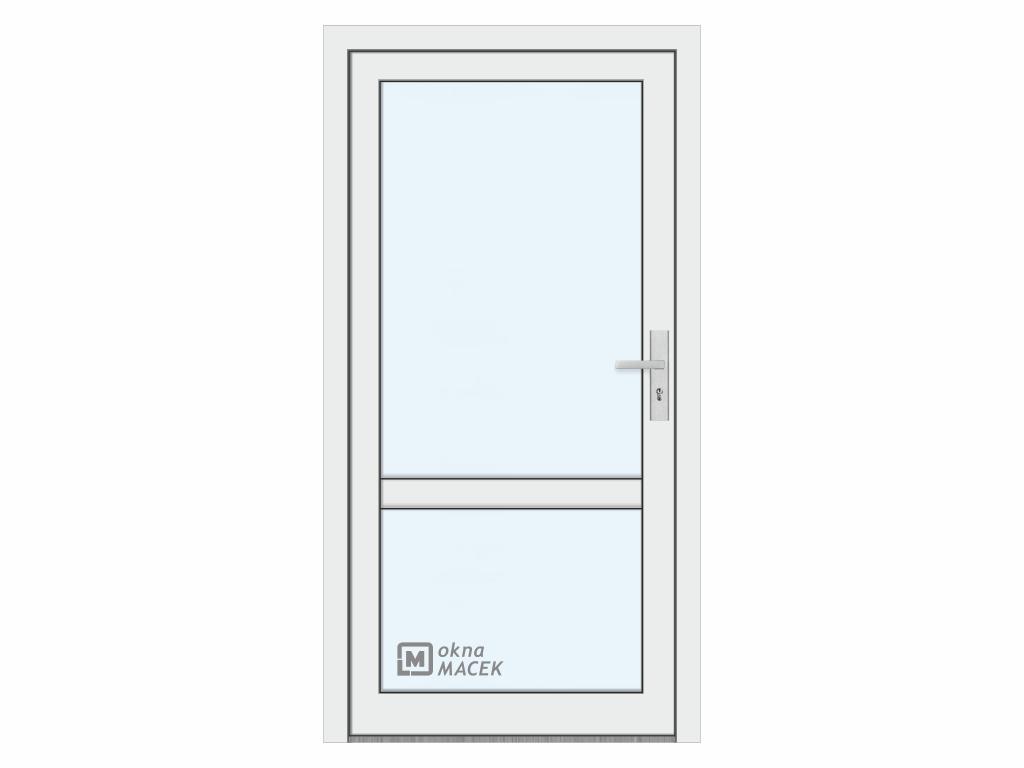 Plastové vchodové dveře - KNIPPING 76 AD, prosklené s příčkou, bílá/bílá Otevírání: levé, Šířka průc