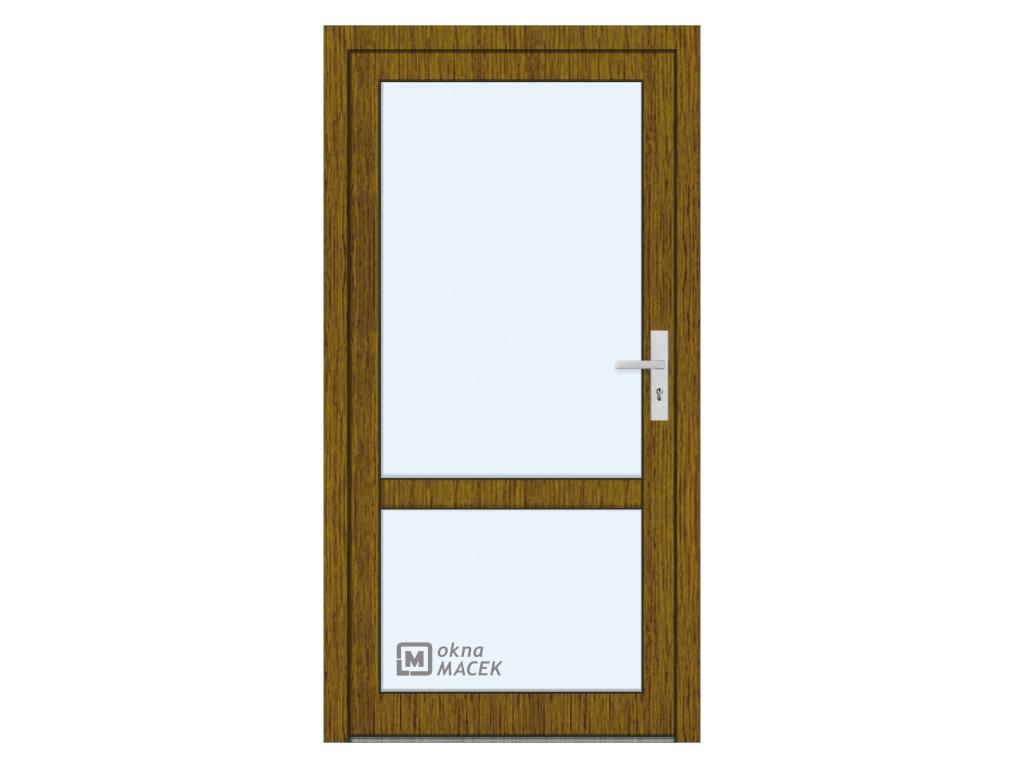 Plastové vchodové dveře - KNIPPING 76 AD, prosklené s příčkou, ořech/bílá Otevírání: levé, Šířka prů