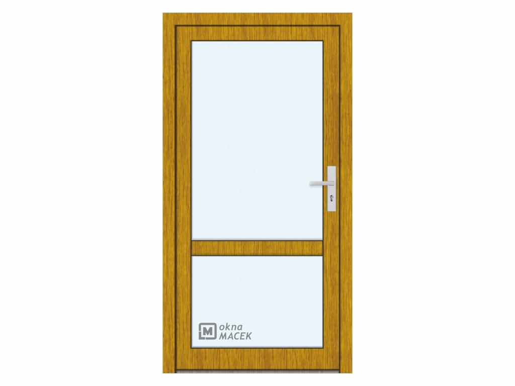 Plastové vchodové dveře - KNIPPING 76 AD, prosklené s příčkou, zlatý dub/bílá Otevírání: levé, Šířka