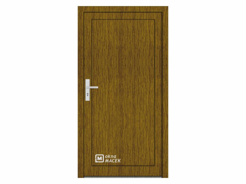 Plastové vchodové dveře - KNIPPING 76 AD, plné, ořech/bílá Otevírání: pravé, Šířka průchodu: 800 mm