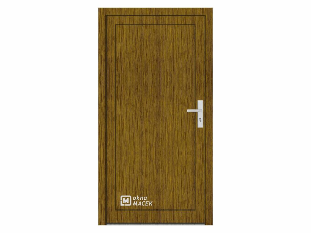 Plastové vchodové dveře - KNIPPING 76 AD, plné, ořech/bílá Otevírání: levé, Šířka průchodu: 800 mm