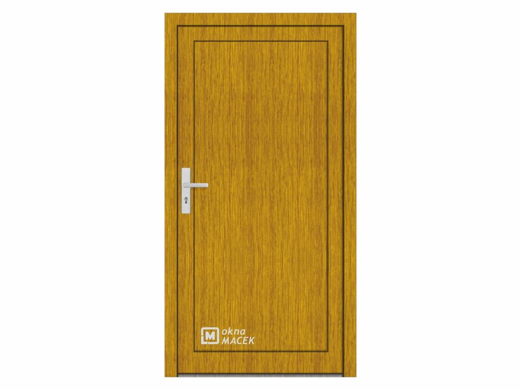 Plastové vchodové dveře - KNIPPING 76 AD, plné, zlatý dub/bílá Otevírání: pravé, Šířka průchodu: 800 mm