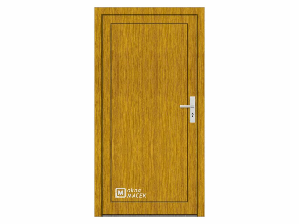 Plastové vchodové dveře - KNIPPING 76 AD, plné, zlatý dub/bílá Otevírání: levé, Šířka průchodu: 800 mm