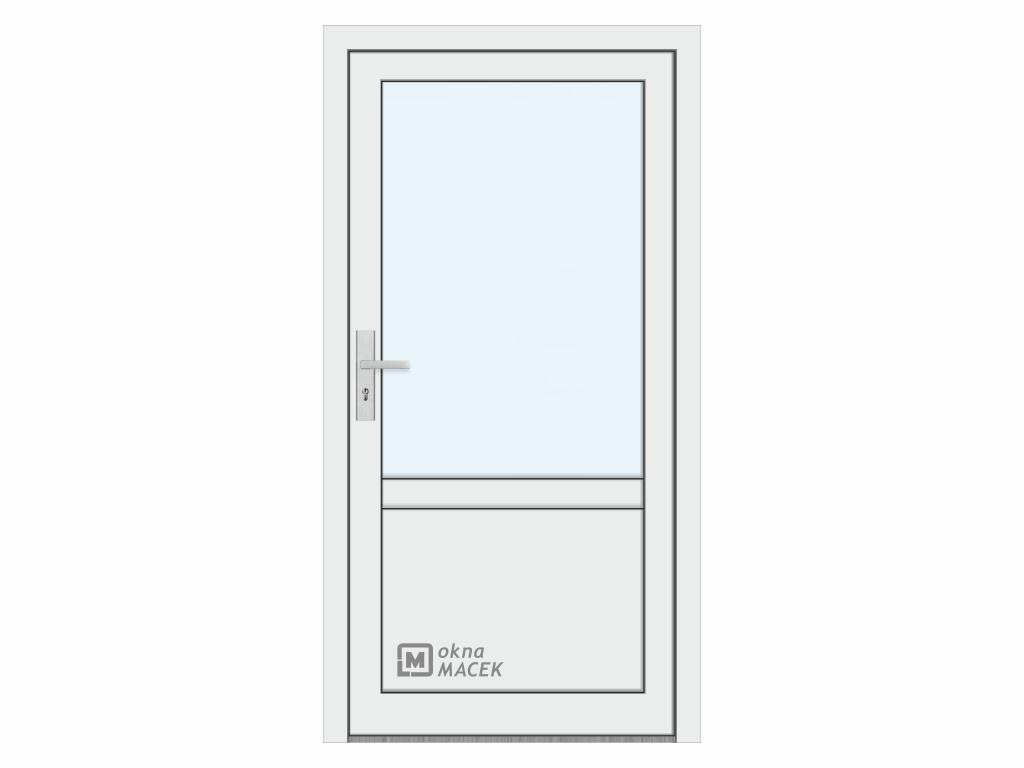 Plastové vchodové dveře - KNIPPING 76 AD, prosklené s příčkou a výplní, bílá/bílá Otevírání: pravé, Šířka průchodu: 800 mm, Sklo: čiré
