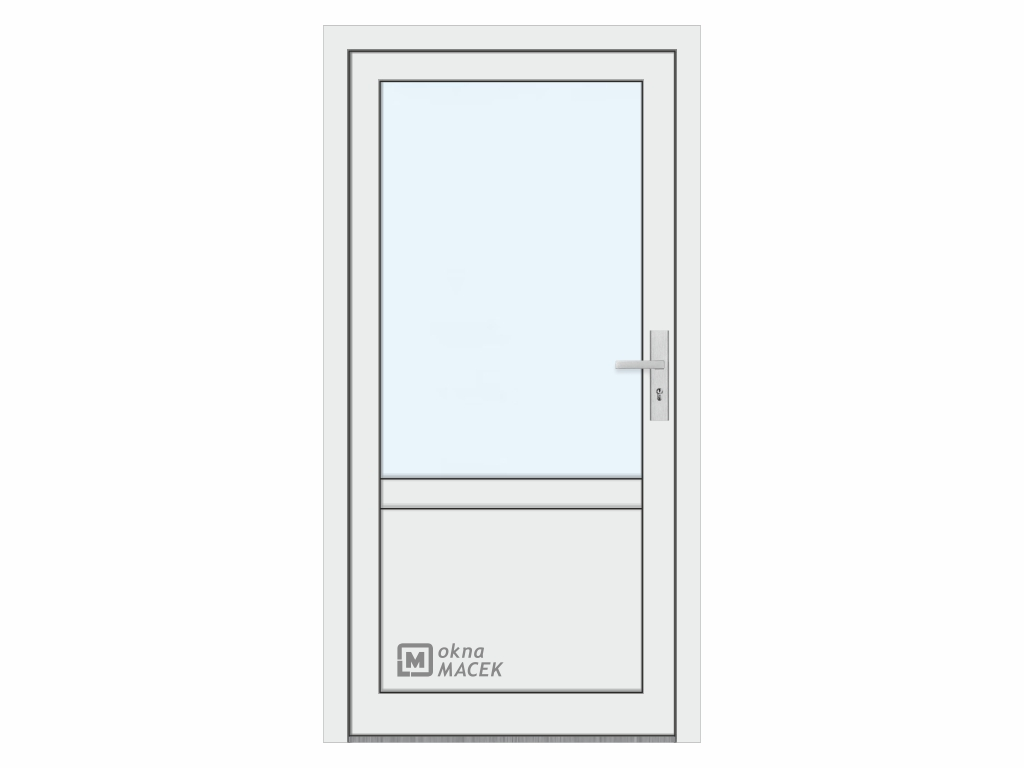 Plastové vchodové dveře - KNIPPING 76 AD, prosklené s příčkou a výplní, bílá/bílá Otevírání: levé, Šířka průchodu: 800 mm, Sklo: čiré
