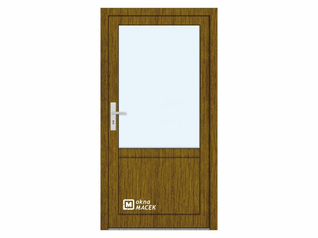 Plastové vchodové dveře - KNIPPING 76 AD, prosklené s příčkou a výplní, ořech/bílá Otevírání: pravé, Šířka průchodu: 800 mm, Sklo: čiré