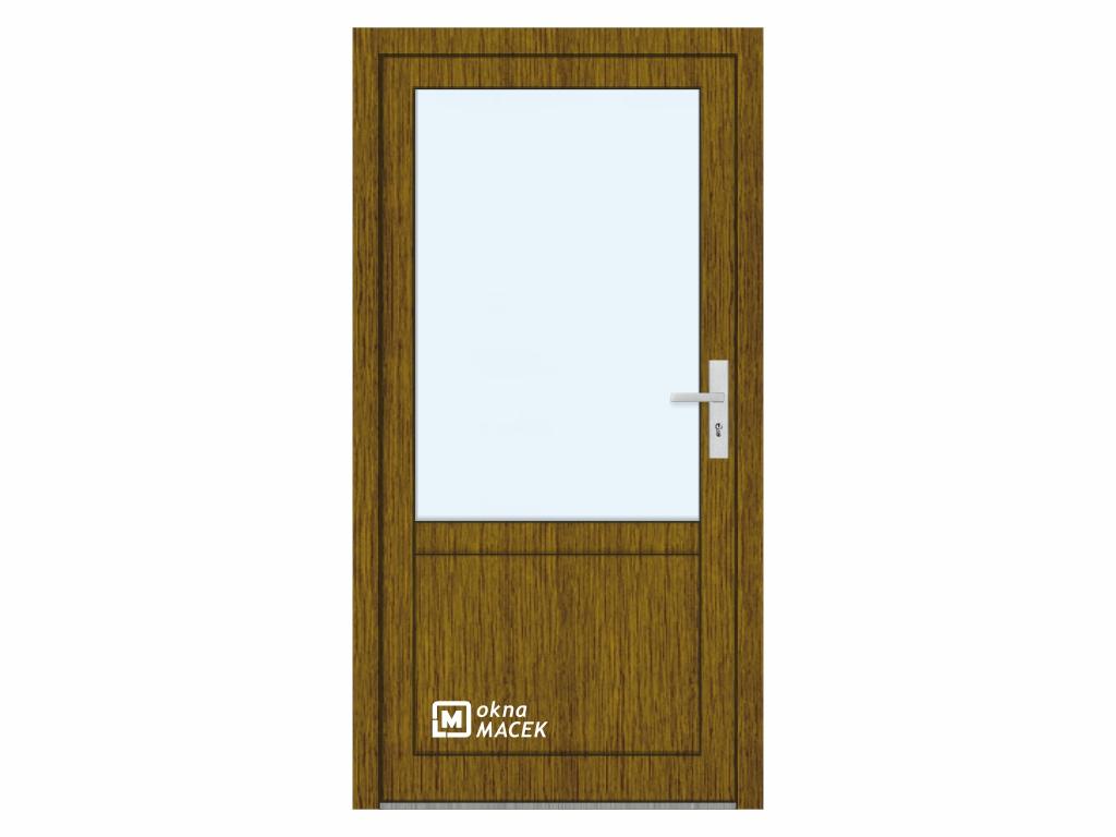 Plastové vchodové dveře - KNIPPING 76 AD, prosklené s příčkou a výplní, ořech/bílá Otevírání: levé, Šířka průchodu: 800 mm, Sklo: čiré