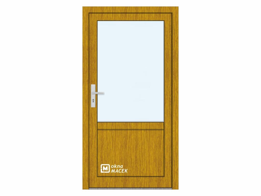 Plastové vchodové dveře - KNIPPING 76 AD, prosklené s příčkou a výplní, zlatý dub/bílá Otevírání: pravé, Šířka průchodu: 800 mm, Sklo: čiré