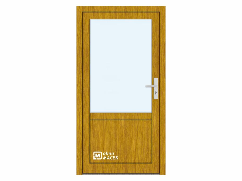 Plastové vchodové dveře - KNIPPING 76 AD, prosklené s příčkou a výplní, zlatý dub/bílá Otevírání: levé, Šířka průchodu: 800 mm, Sklo: čiré