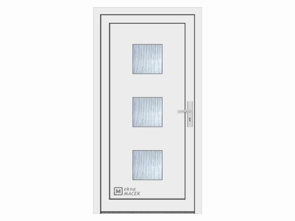 Plastové vchodové dveře - KNIPPING 76 AD, okrasná výplň 2301, různé barvy a imitace dřeva Otevírání: levé, Šířka průchodu: 800 mm, Barva, imitace: bílá