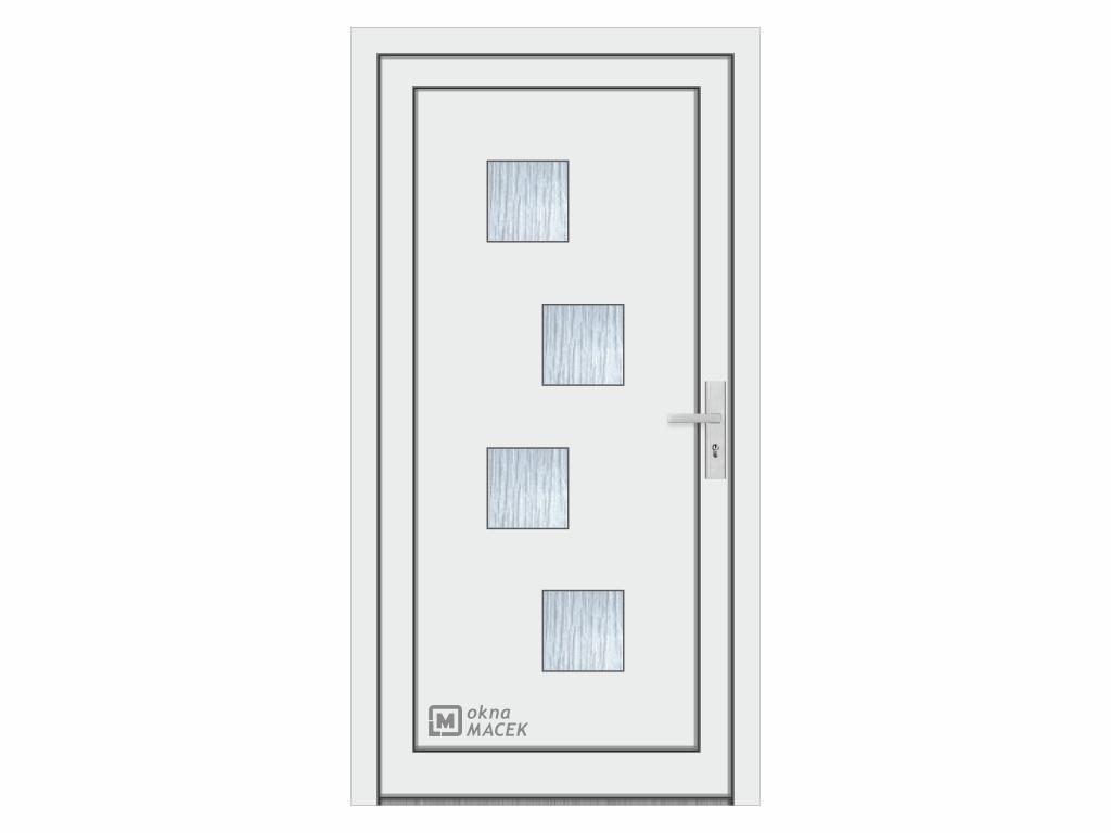 Plastové vchodové dveře - KNIPPING 76 AD, okrasná výplň 2421, různé barvy a imitace dřeva Otevírání: levé, Šířka průchodu: 800 mm, Barva, imitace: bílá