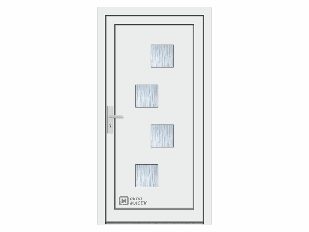 Plastové vchodové dveře - KNIPPING 76 AD, okrasná výplň 2421, různé barvy a imitace dřeva Otevírání: pravé, Šířka průchodu: 800 mm, Barva, imitace: bílá