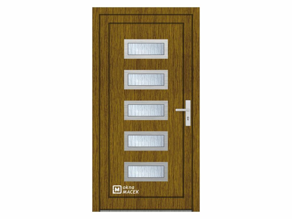 Plastové vchodové dveře - KNIPPING 76 AD, okrasná výplň 2802/INOX, různé barvy a imitace dřeva Oteví