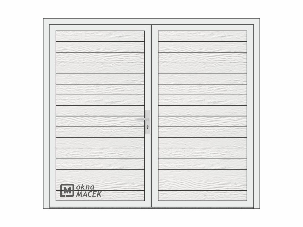 OKNA MACEK Dvoukřídlá garážová vrata - ALIPLAST 65, 2500x2200 mm, různé barvy a imitace dřeva Otevírání: O levé ven, Barva, imitace: bílá
