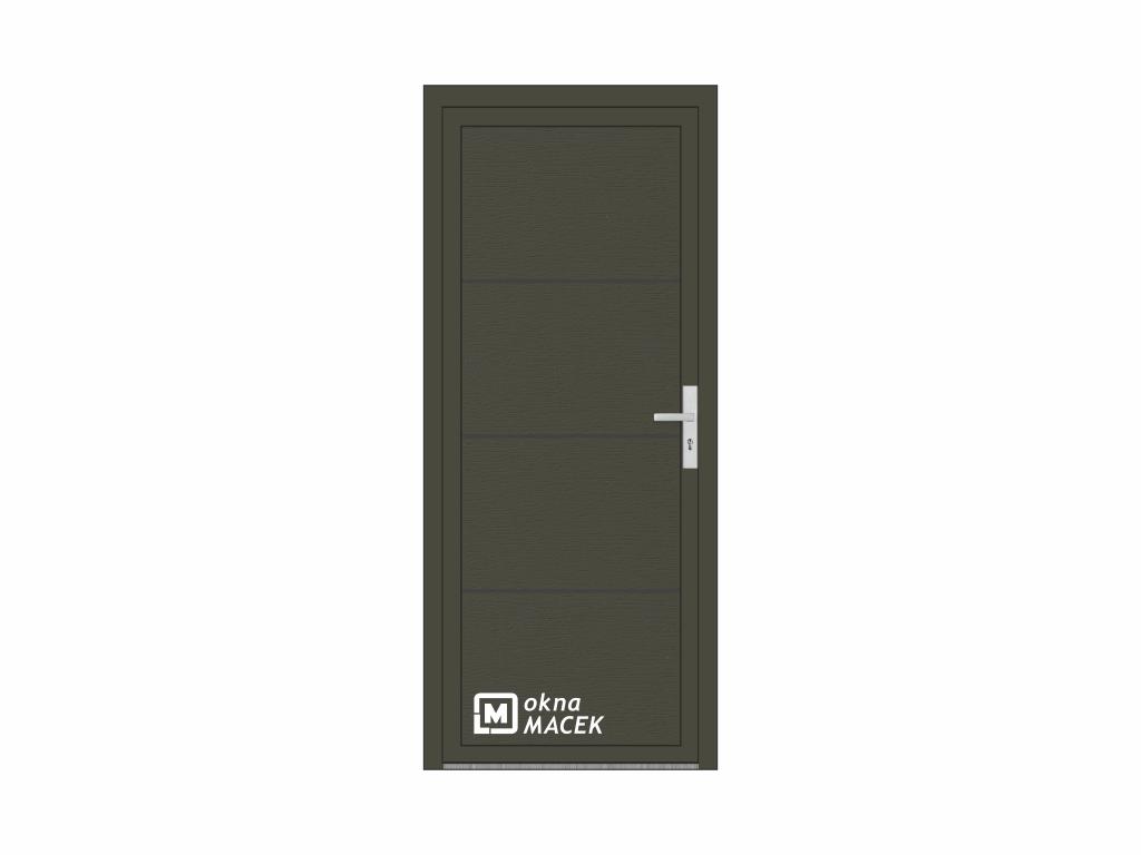 OKNA MACEK Garážové/vedlejší dveře - OM 1005, rozměr 900x2100 mm, různé barvy a imitace dřeva Otevír