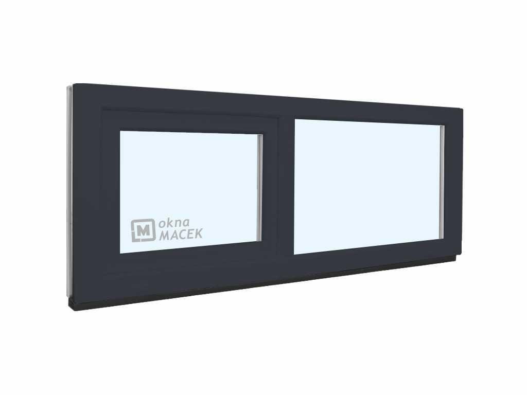 Plastové okno - KNIPPING 70 AD, 1500x500 mm, FIX/S, antracit Sklo: čiré, Barva, imitace: antracit/bí