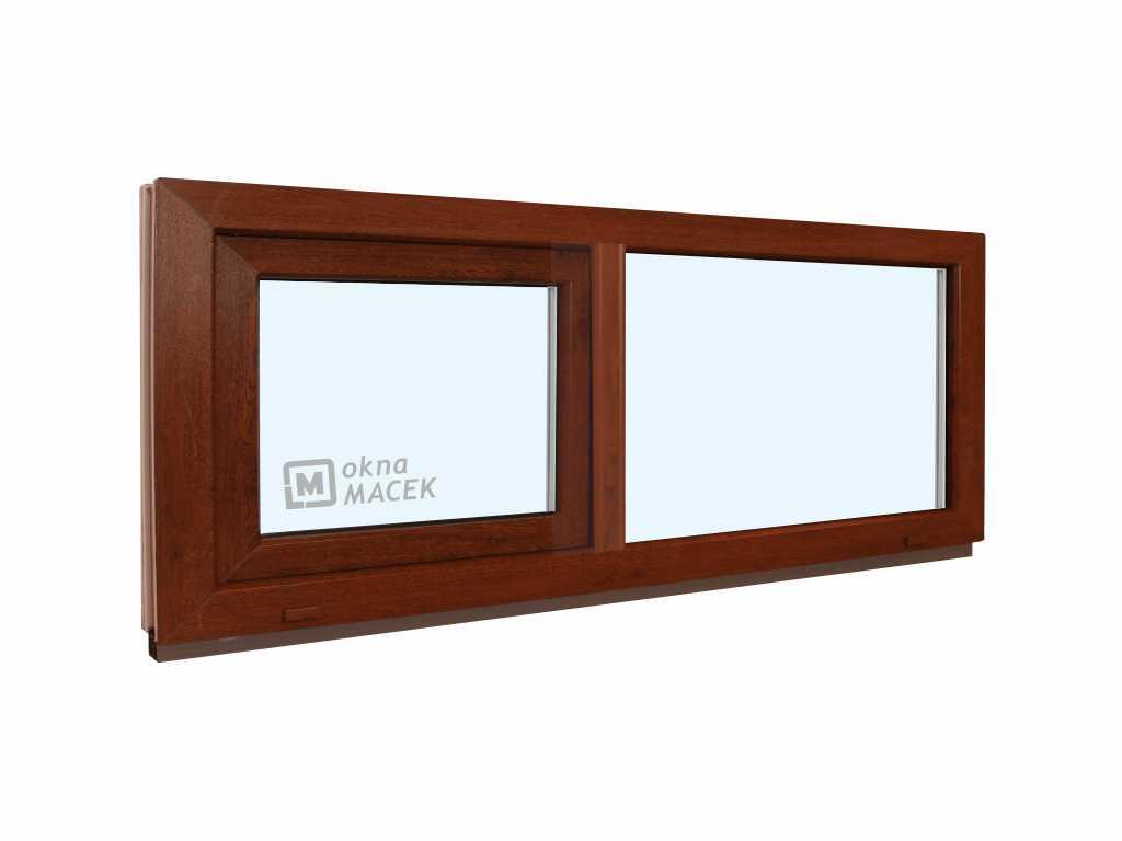 Plastové okno - KNIPPING 70 AD, 1500x500 mm, FIX/S, ořech Sklo: čiré, Barva, imitace: ořech/bílá (je