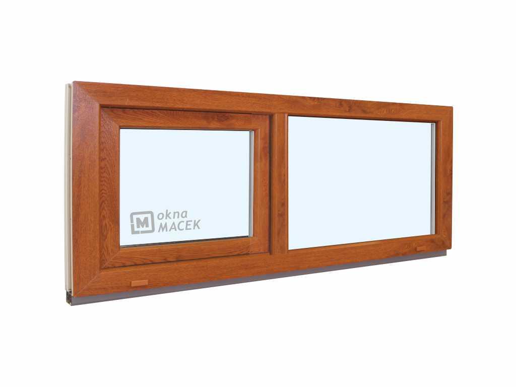 Plastové okno - KNIPPING 70 AD, 1500x500 mm, FIX/S, zlatý dub Sklo: čiré, Barva, imitace: zlatý dub/