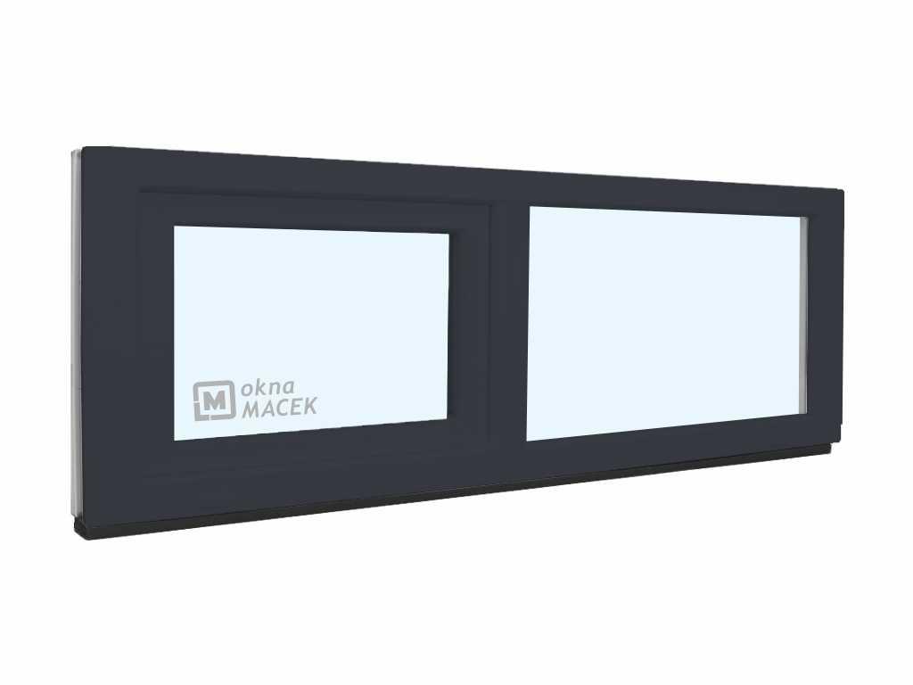 Plastové okno - KNIPPING 70 AD, 1800x500 mm, FIX/S, antracit Sklo: čiré, Barva, imitace: antracit/bí
