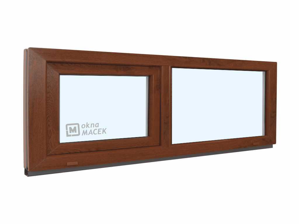 Plastové okno - KNIPPING 70 AD, 1800x500 mm, FIX/S, ořech Sklo: čiré, Barva, imitace: ořech/bílá (jednostranně)