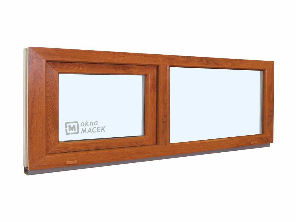 Plastové okno - KNIPPING 70 AD, 1800x500 mm, FIX/S, zlatý dub Sklo: čiré, Barva, imitace: zlatý dub/bílá (jednostranně)