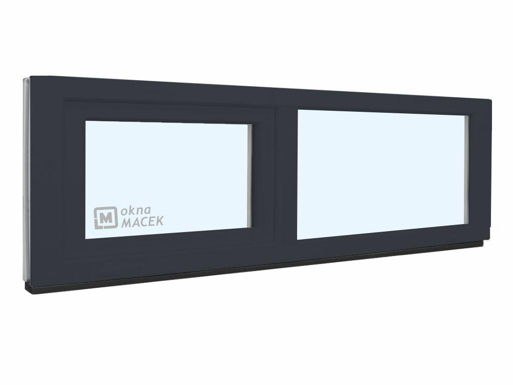 Plastové okno - KNIPPING 70 AD, 2100x500 mm, FIX/S, antracit Sklo: čiré, Barva, imitace: antracit/bílá (jednostranně)