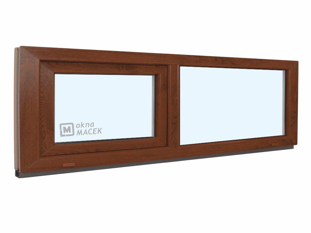 Plastové okno - KNIPPING 70 AD, 2100x500 mm, FIX/S, ořech Sklo: čiré, Barva, imitace: ořech/bílá (jednostranně)