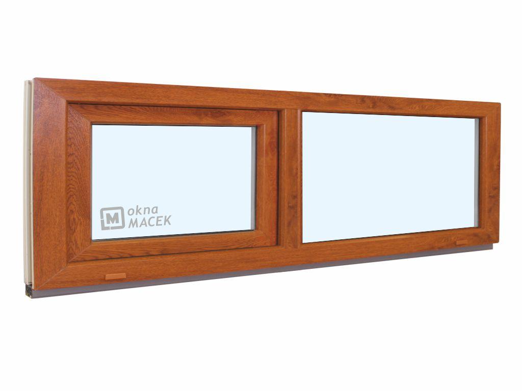 Plastové okno - KNIPPING 70 AD, 2100x500 mm, FIX/S, zlatý dub Sklo: čiré, Barva, imitace: zlatý dub/bílá (jednostranně)