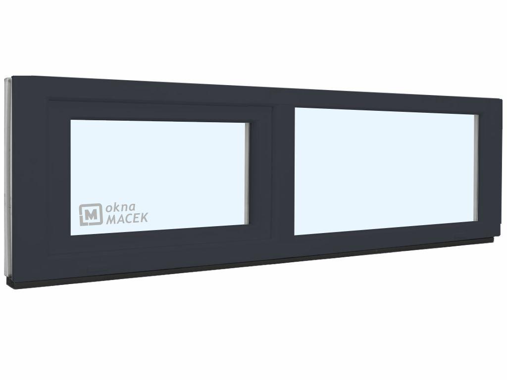 Plastové okno - KNIPPING 70 AD, 2400x500 mm, FIX/S, antracit Sklo: čiré, Barva, imitace: antracit/bílá (jednostranně)