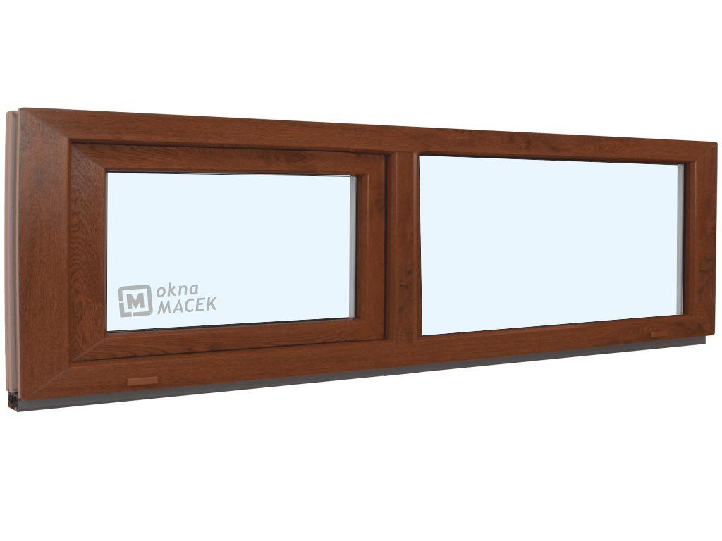 Plastové okno - KNIPPING 70 AD, 2400x500 mm, FIX/S, ořech Sklo: čiré, Barva, imitace: ořech/bílá (jednostranně)