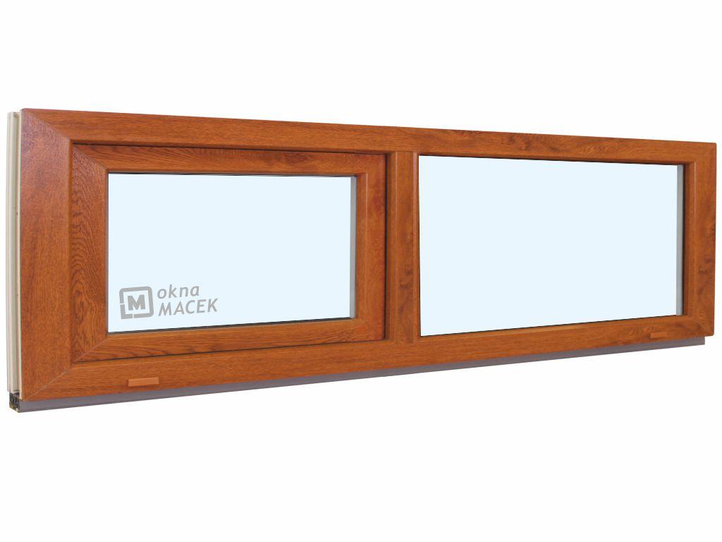Plastové okno - KNIPPING 70 AD, 2400x500 mm, FIX/S, zlatý dub Sklo: čiré, Barva, imitace: zlatý dub/bílá (jednostranně)